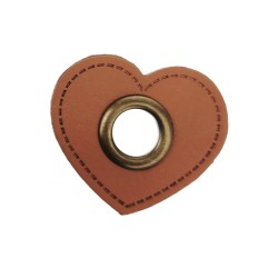 Leatherette Patch, Heart with Eyelet - 10 pcs.