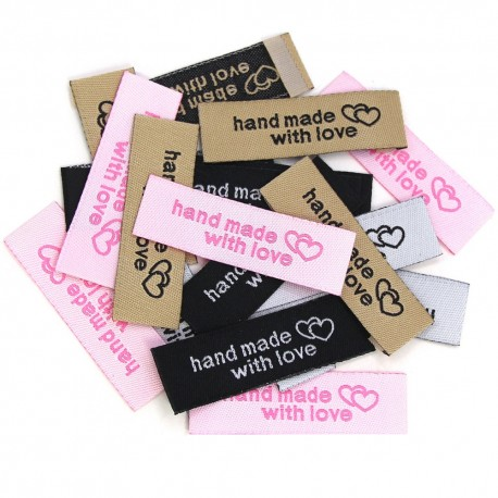 """Label """"MADE WITH LOVE"""" aus Stoff - 10 St."""