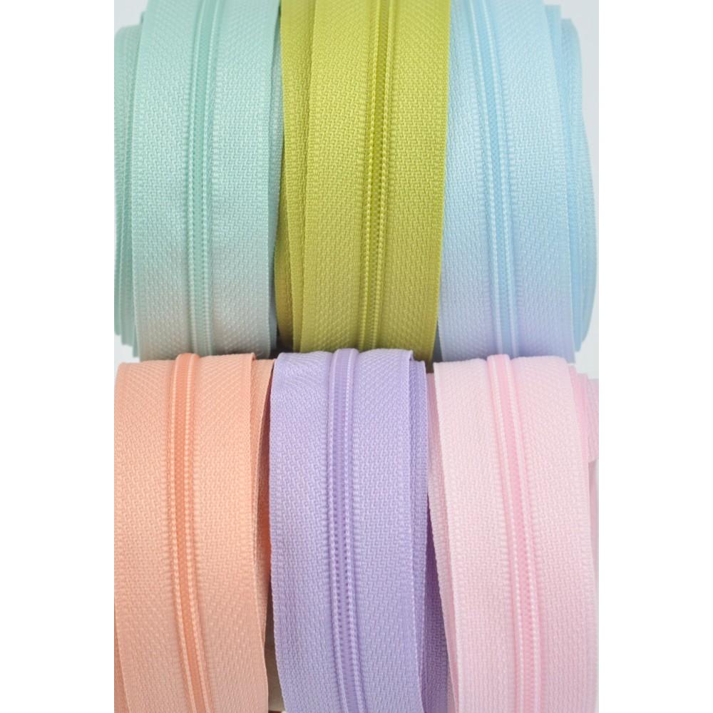 6x10m tape + 6x30 zippers - pink, saumon, lila, sky blue, aqua, kiwi