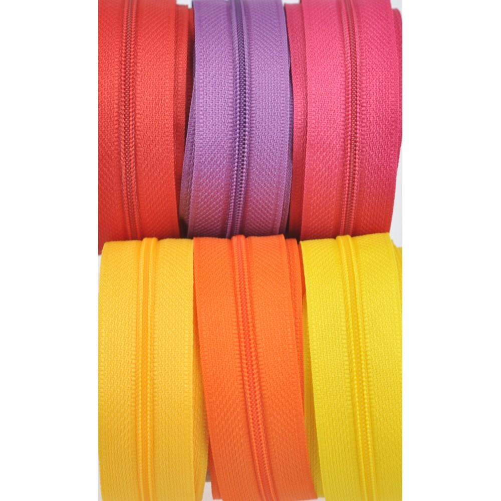 6x10m tape + 6x30 zippers - yellow, dark yellow, orange, fuchsia, red, purple