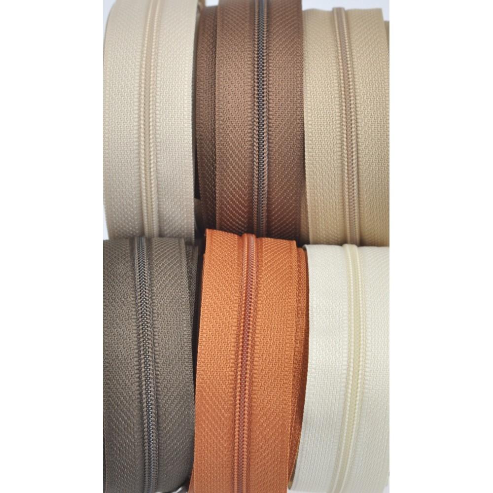 6x10m tape + 6x30 zippers - cream, beige, dark beige, caramel, chocolate, tobacco