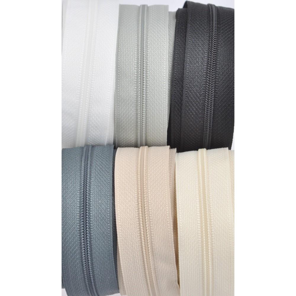 6x10m tape + 6x30 zippers - white, cream, beige, light grey, grey, black