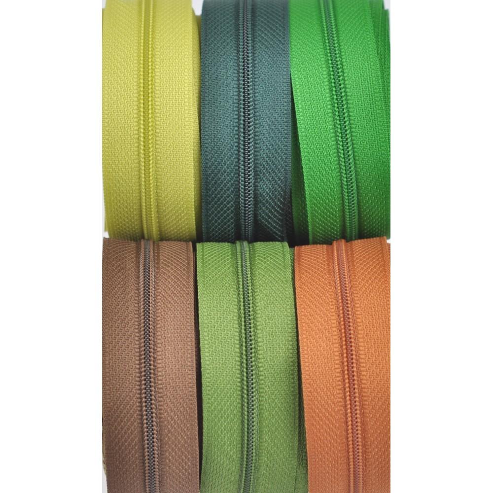 6x10m tape + 6x30 zippers -  kiwi, olive, green, dark green, caramel, chocolate