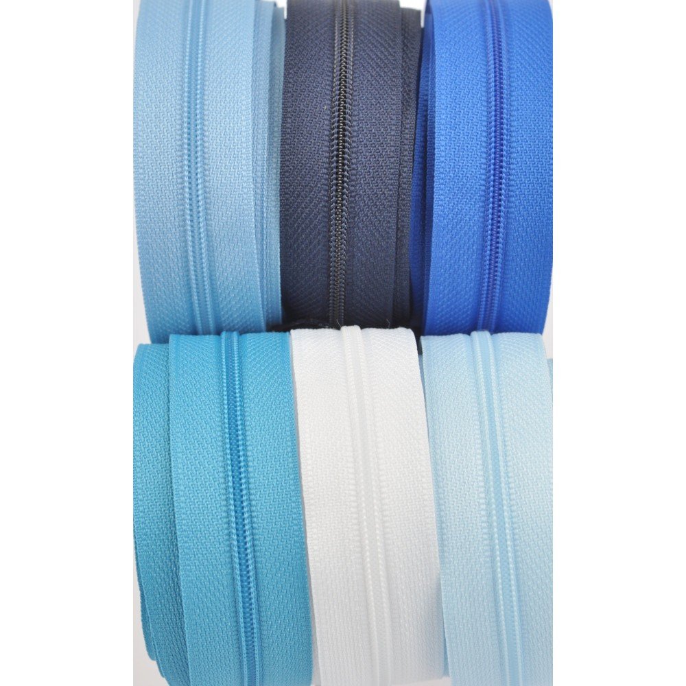 6x10m tape + 6x30 zippers - white, sky blue, azur, turquoise, blue, navy