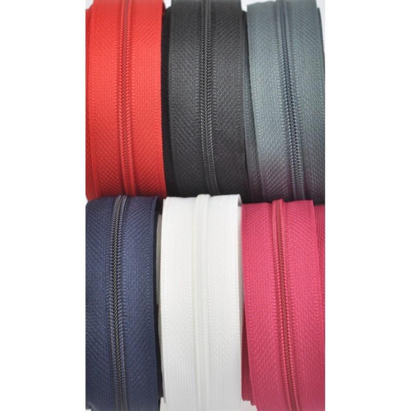 6x10m tape + 6x30 zippers - ecru, red, dark red, navy, grey, black