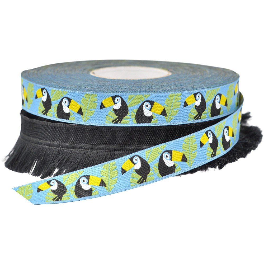 2x 15m - Jacquard Ribbon Toucan + Franges