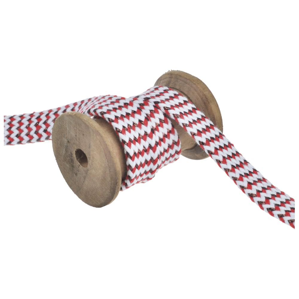 25m - 3222 flat cord white/red/copper