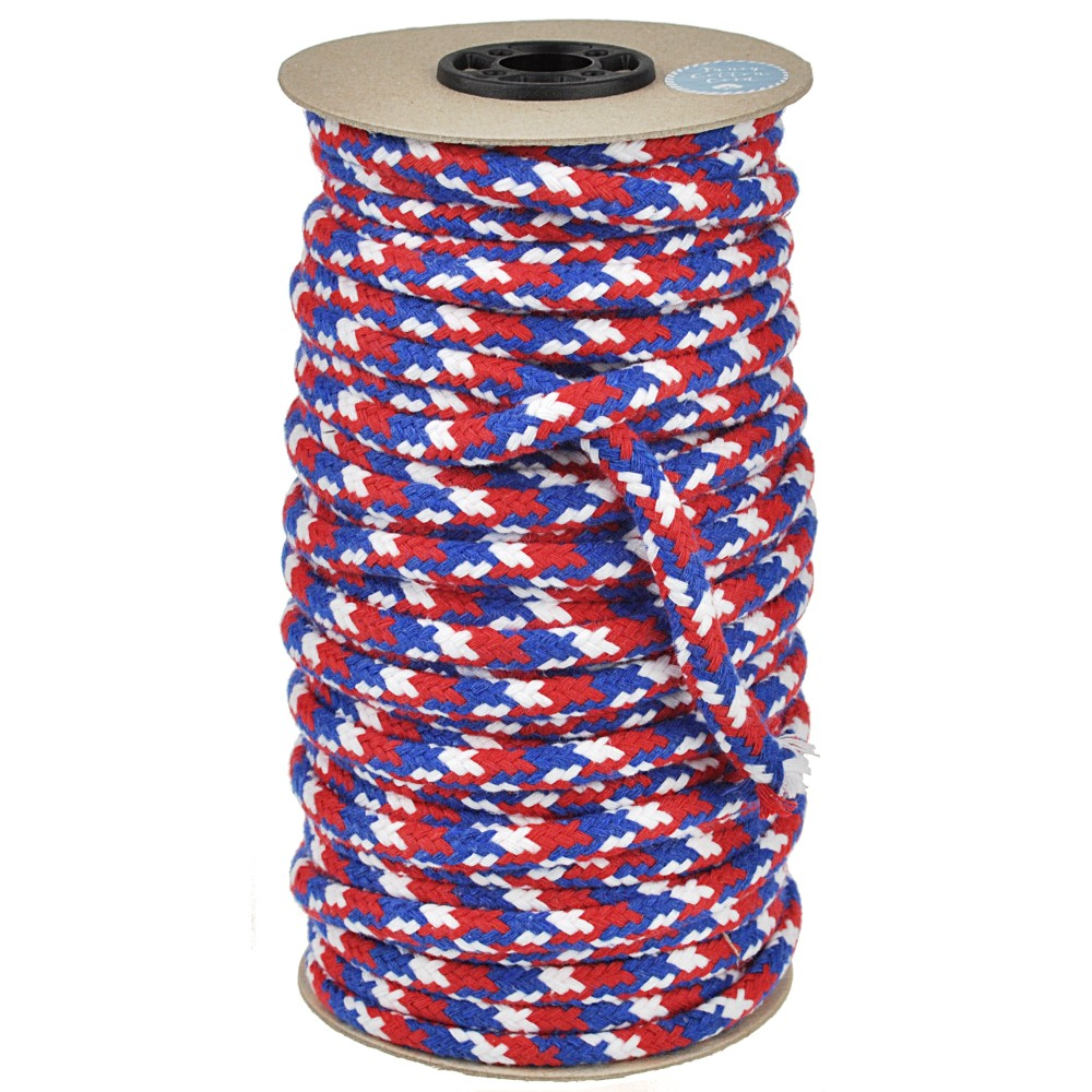 25m - 3001 Round Cord 8mm white/blue/red