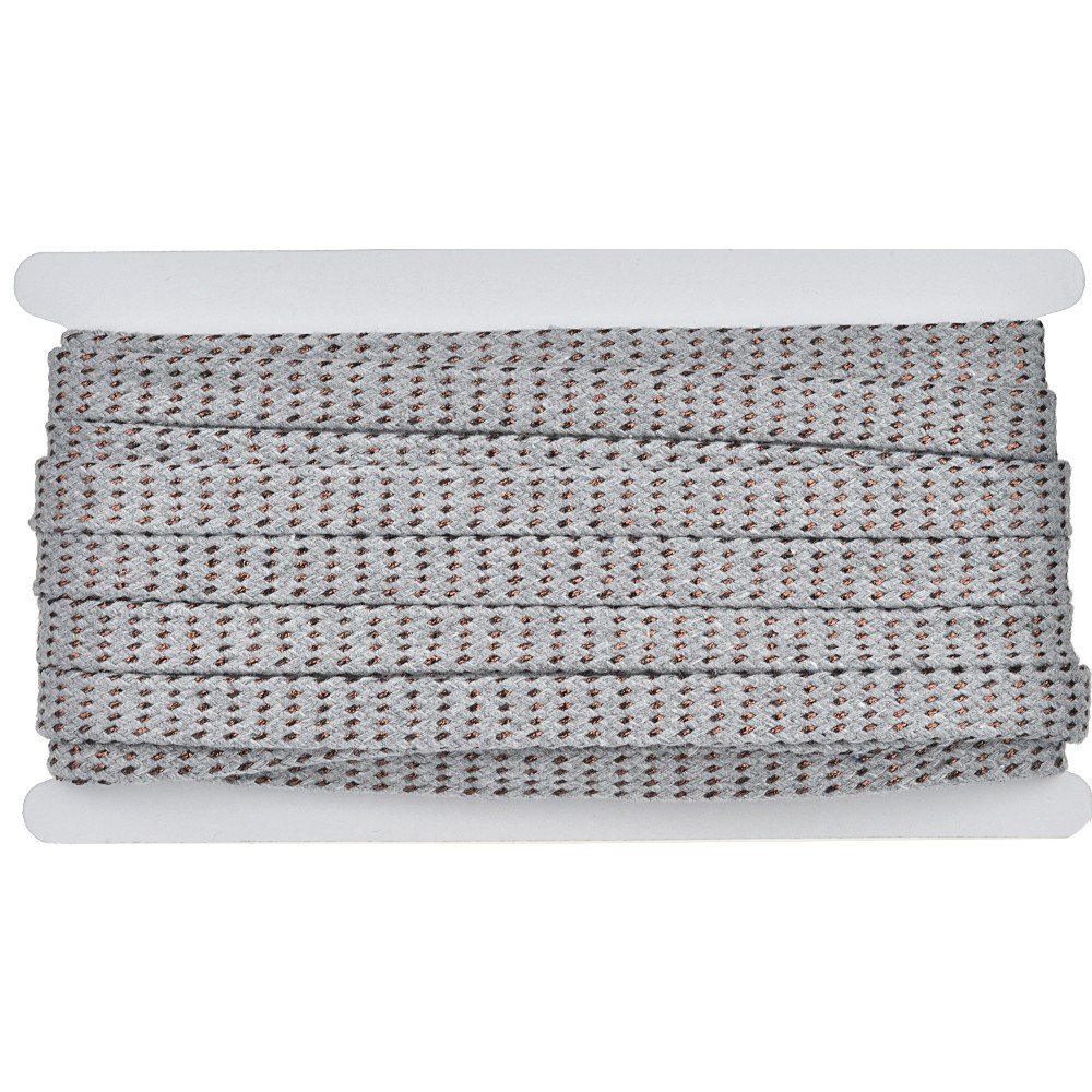 8m - 3133 Flachkordel grau/kupfer