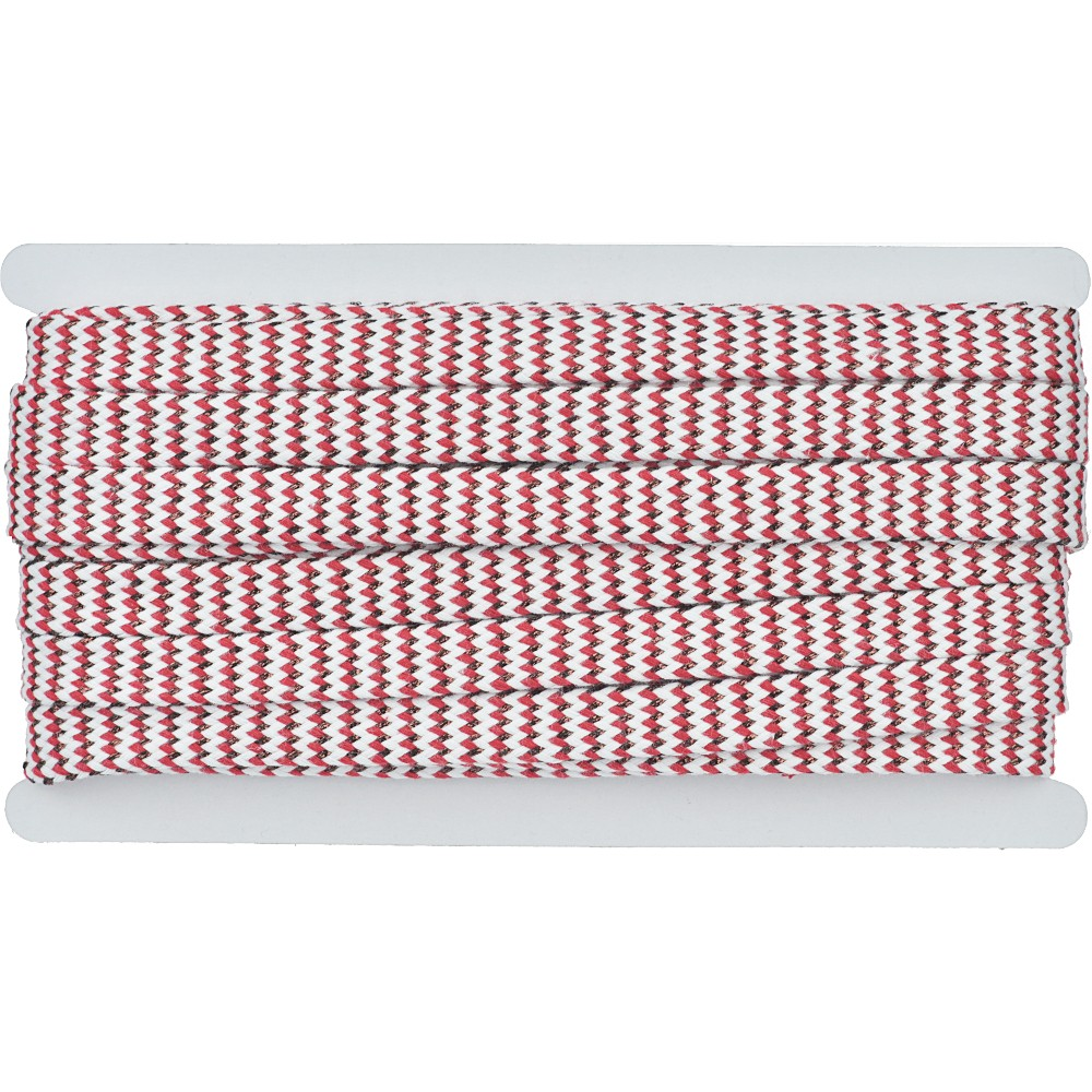 8m - 3222 Flachkordel weiß/rot/kupfer