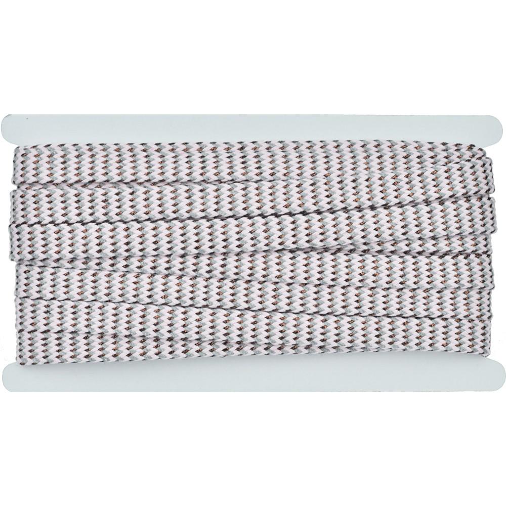 8m - 3239 Flachkordel grau/rosa/kupfer