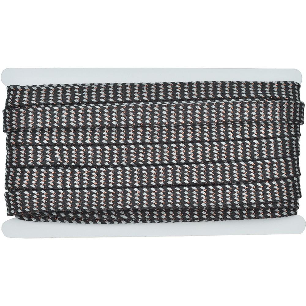 8m - 3233 Flachkordel grau/schwarz/kupfer