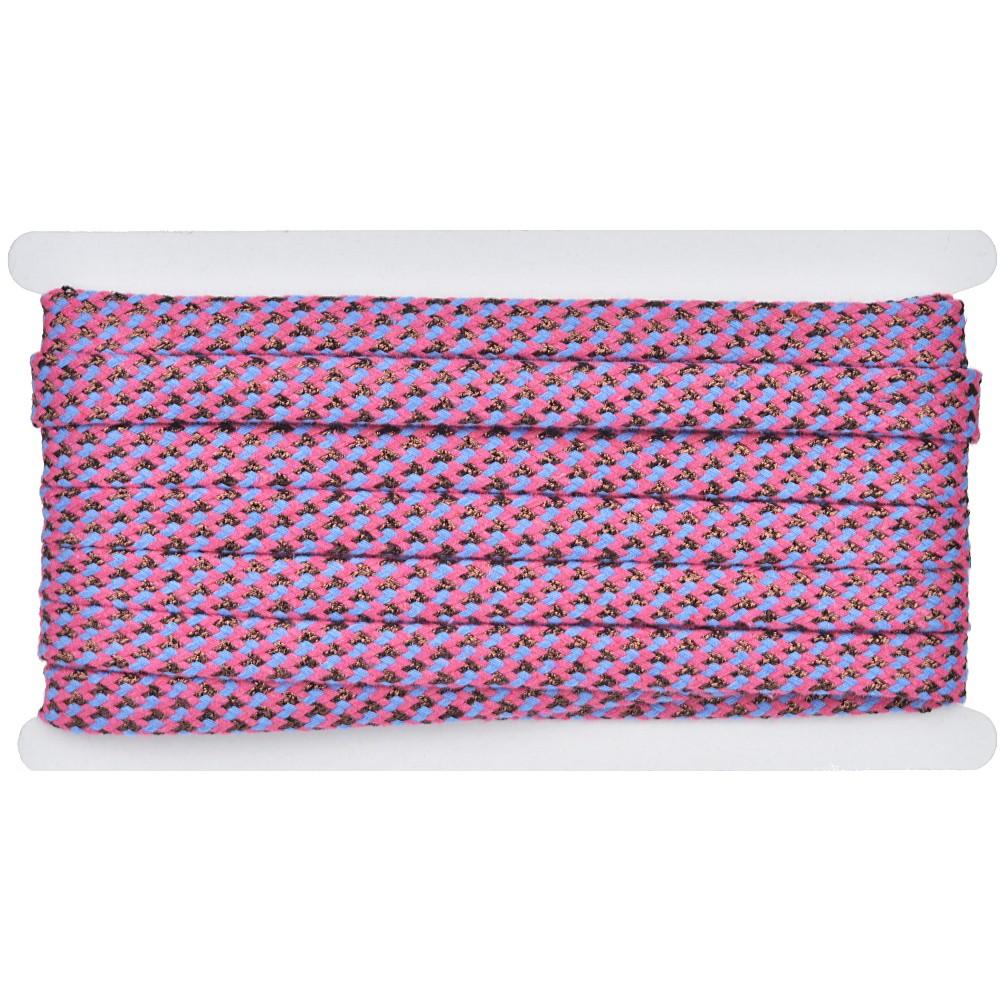 8m - 3329 Flachkordel pink/blau/kupfer