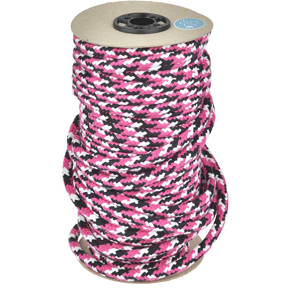 25m - 3002 Round Cord black/white/fuchsia