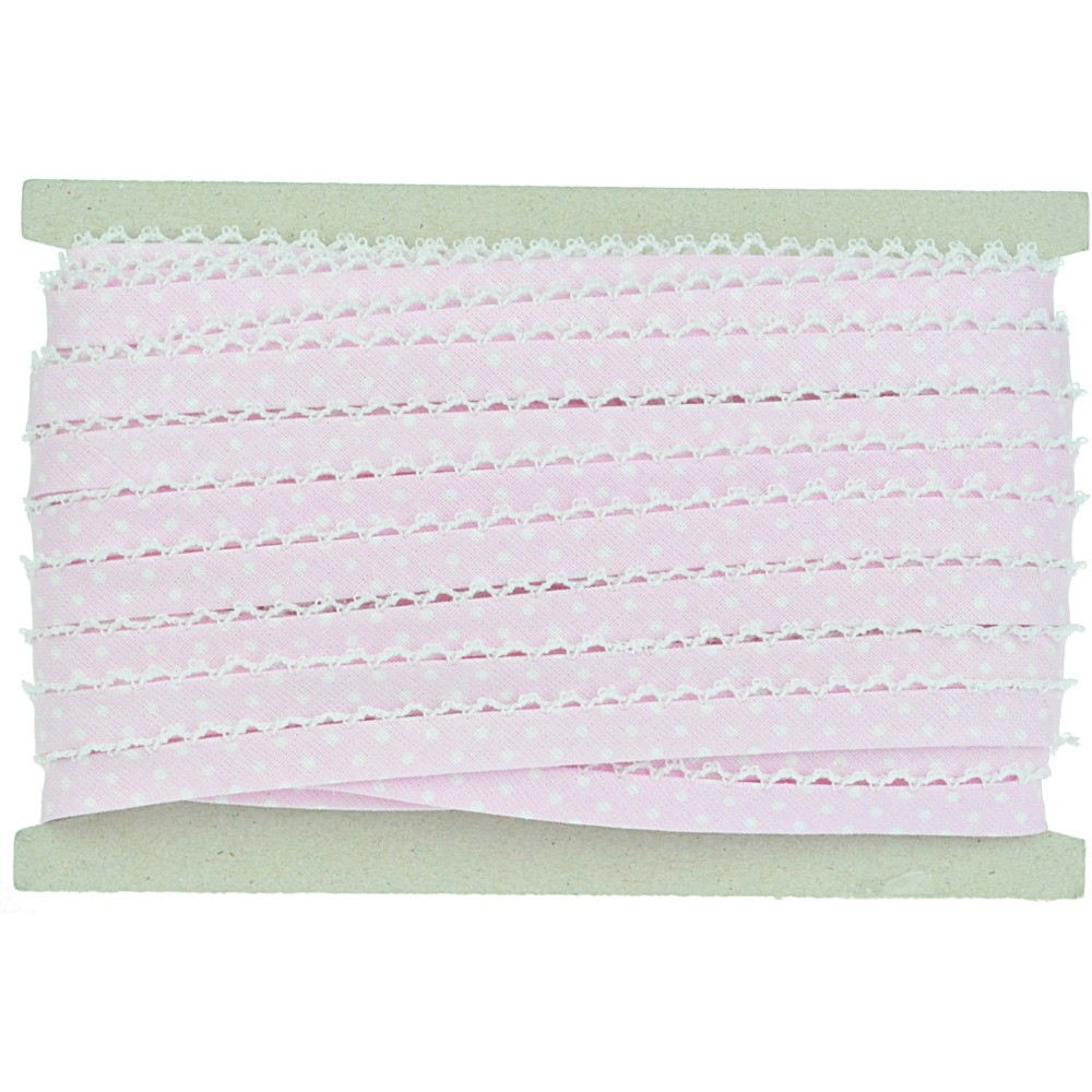 20m - 0165 rosa/weiß gepuntet, weiße Häkelborte