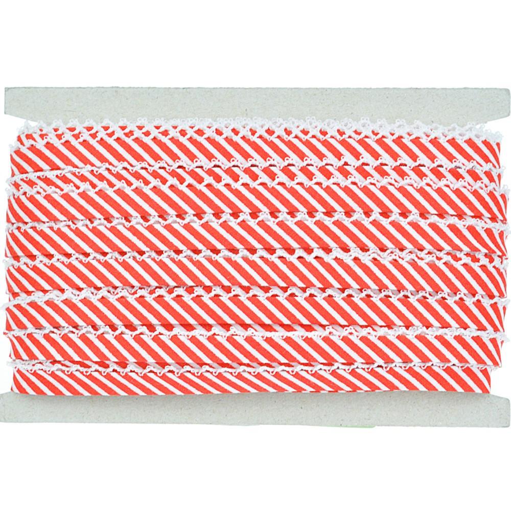 20m - 0240 rot/weiß gestreift, weiße Häkelborte