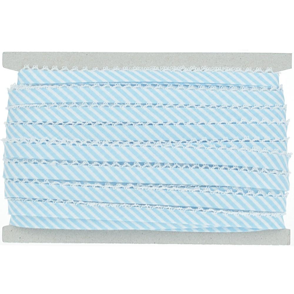 20m - 0187 hellblau/weiß gestreift, weiße Häkelborte