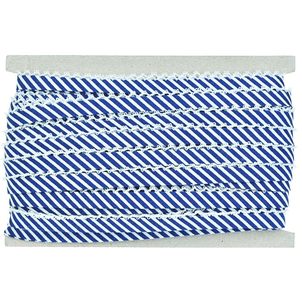20m - 0189 marine/weiß gestreift, weiße Häkelborte
