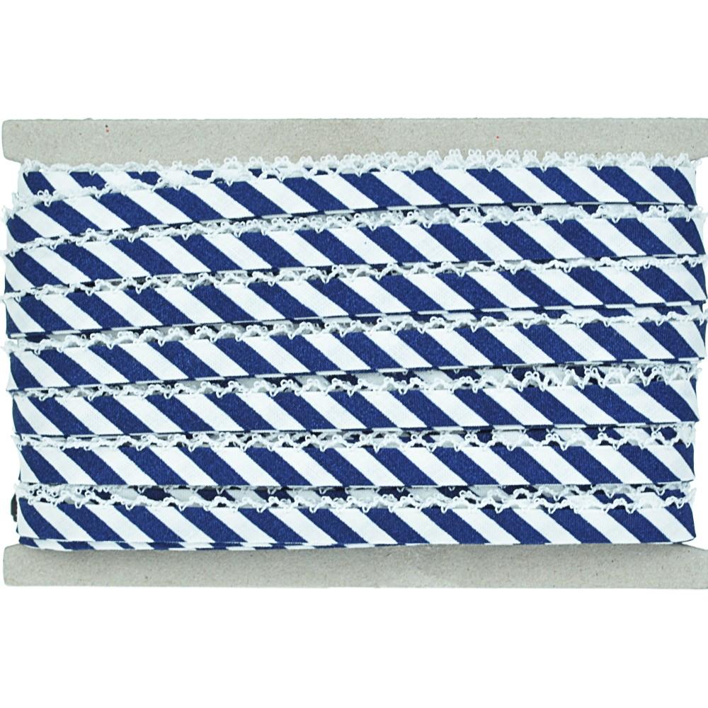 20m - 0202 marine/weiß breit gestreift, weiße Häkelborte