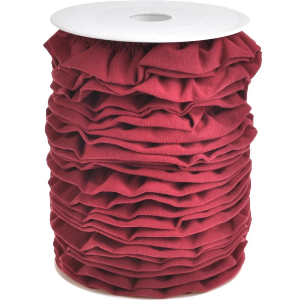 20m - 0332 BIKING RED  - Rüschenband Jersey 30 mm