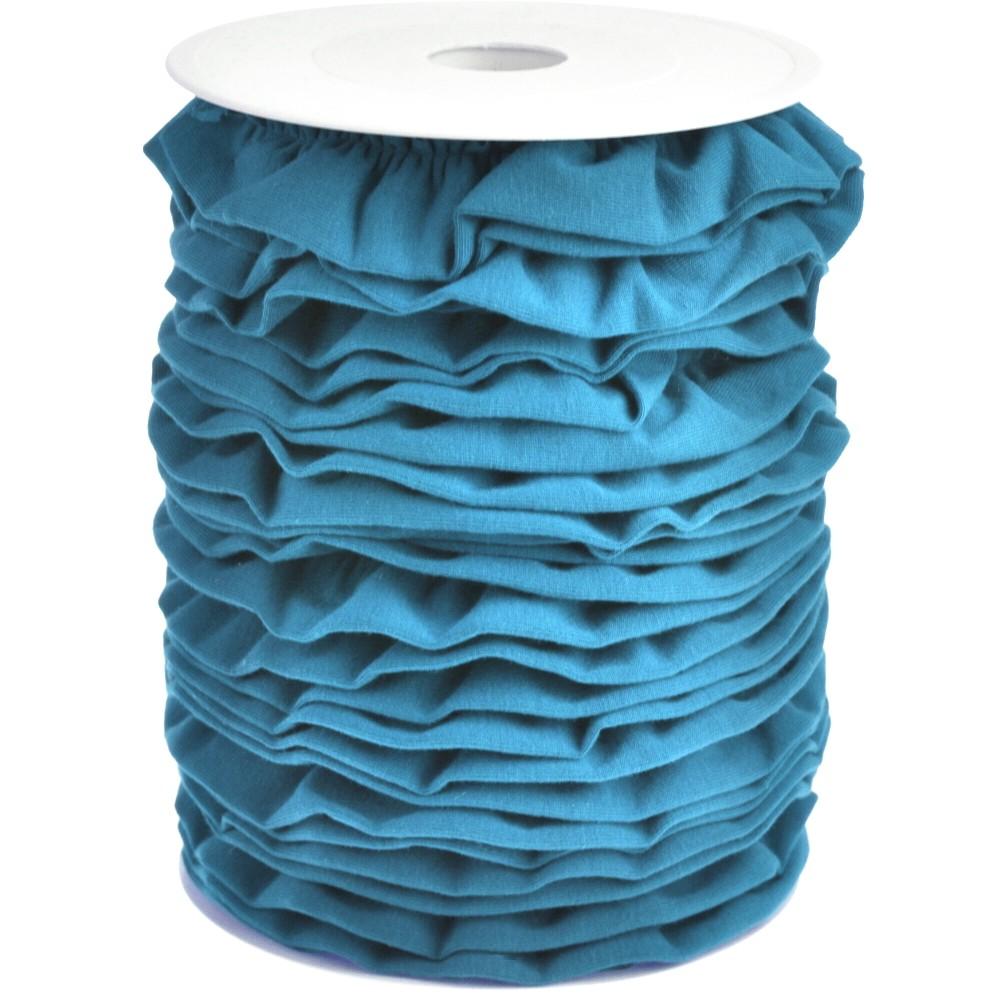 20m - 0377 MOSAIC BLUE - Rüschenband Jersey 30 mm