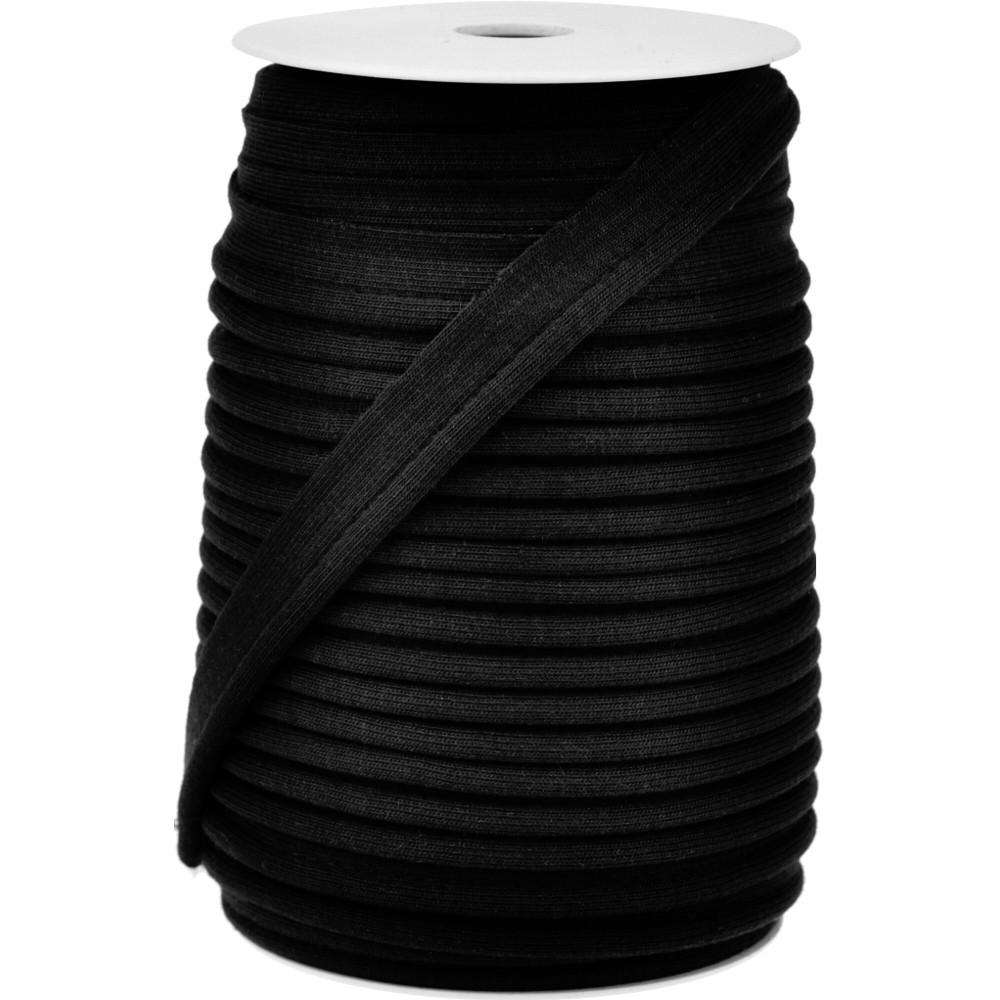 20m - 0038 BLACK - Paspelband Jersey 15 mm