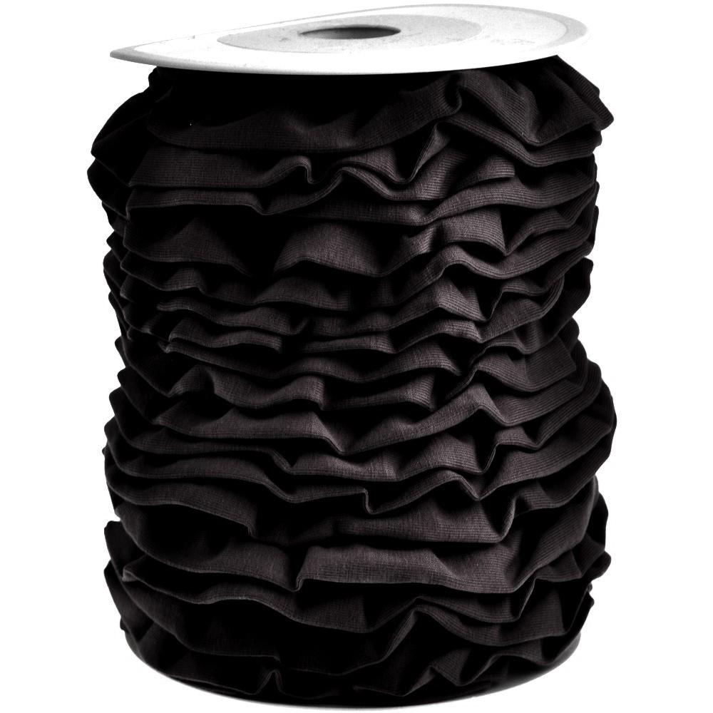 20m - 0038 BLACK - Rüschenband Jersey 30 mm