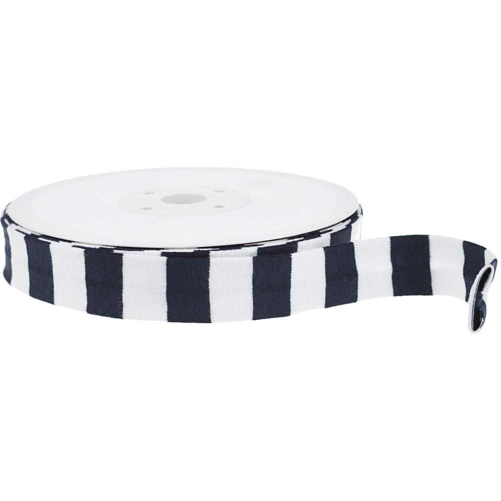 20m - 0215 STRIPES WHITE/NAVY - Schrägband 20/10 mm