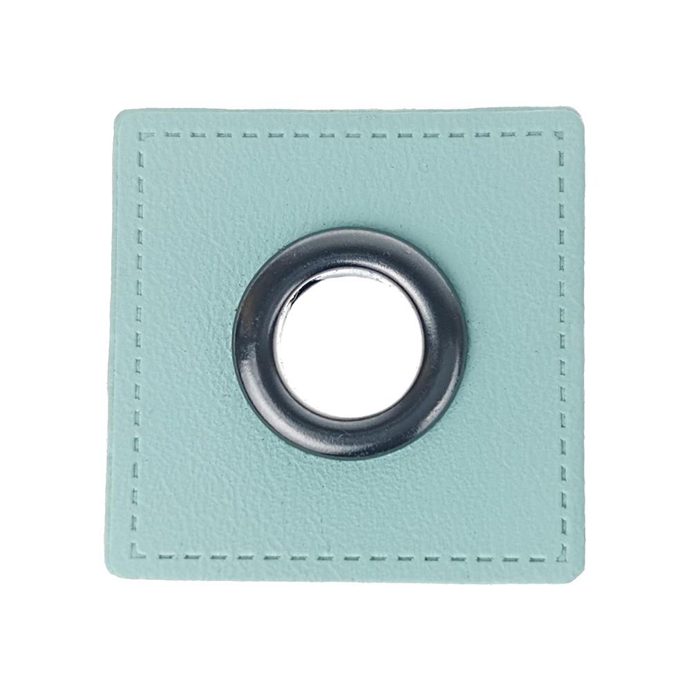 10 pcs. - Carré vert menthe 27 x 27 mm, oeillet graphite 8mm