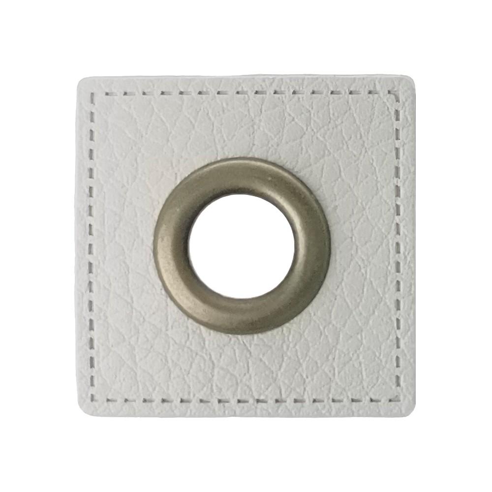 12 St. Quadrat braun, 27 x 27 mm - Öse Kupfer 8mm