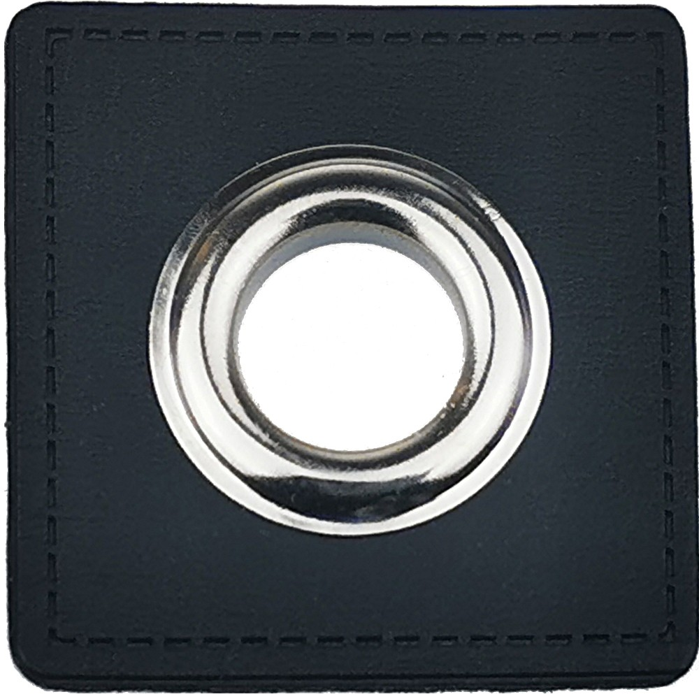 10 pcs. - Black square 36mm with nickel eyelet 10 mm