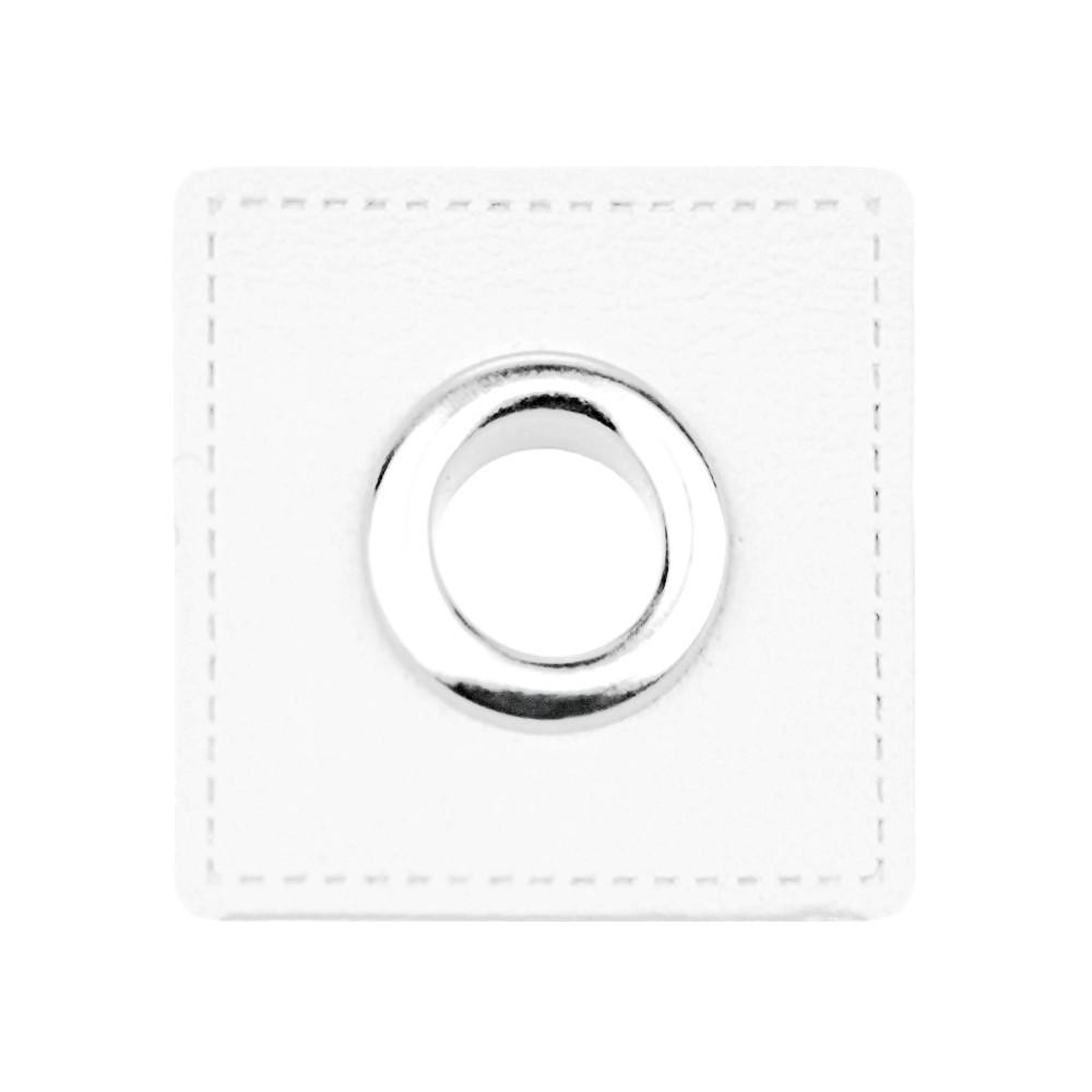10 St. - Weißfarbenes Quadrat 27 x 27mm mit Öse nickelfarbig 8mm