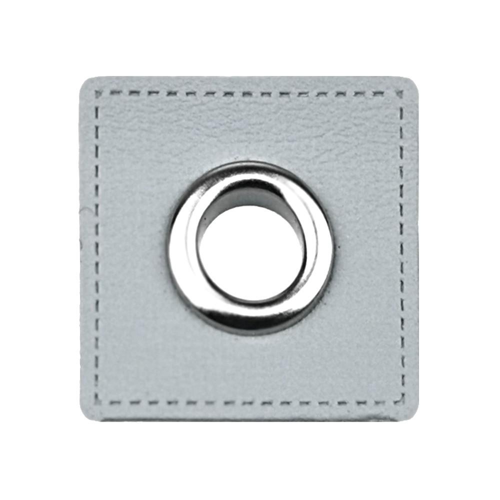 10 St. - Graufarbenes Quadrat 27 x 27 mm mit Öse nickelfarbig 8mm