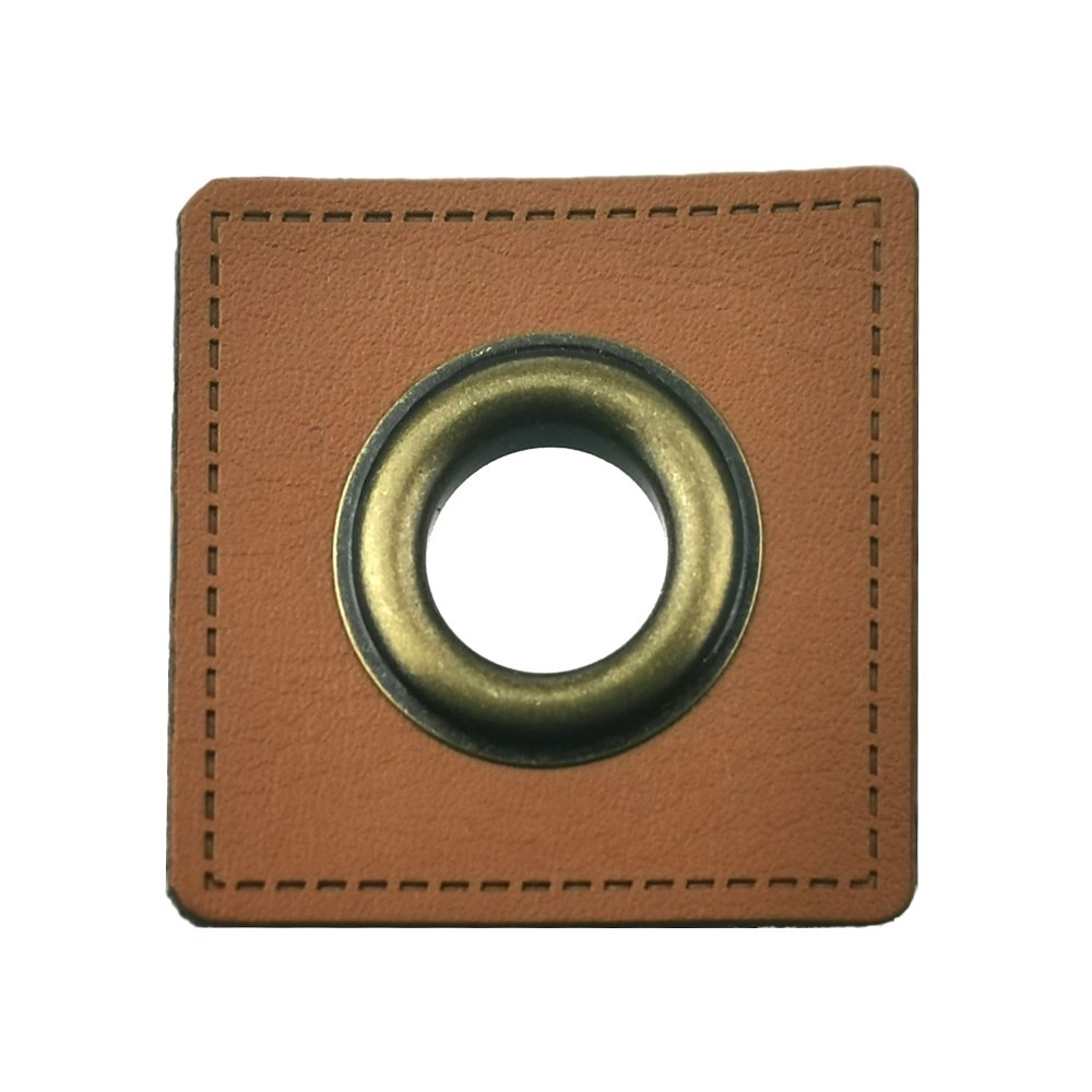 10 St. - Braunfarbenes Quadrat 27 x 27 mm mit Öse kupferfarbig 10mm