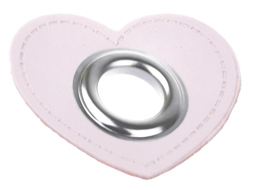 10 St. - Herz rosa 43 x 38 mm, Öse nickel 10mm