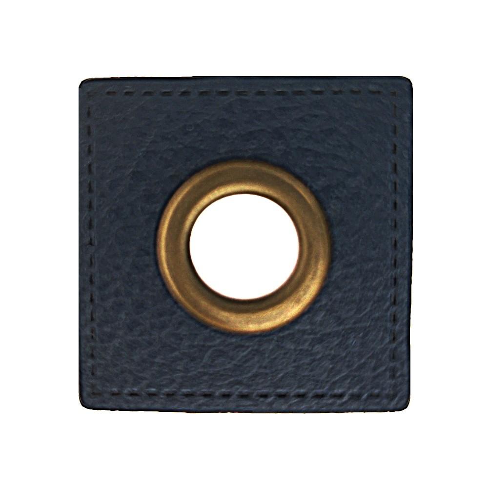 10 St. - Quadrat schwarz 27 x 27 mm, Öse messing 8mm