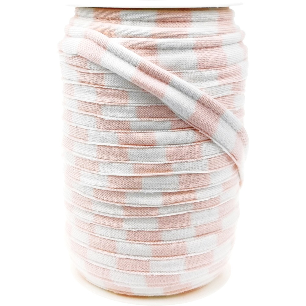 20m - 0280 STRIPES WHITE/LIGHT PINK - Schrägband 20/10mm