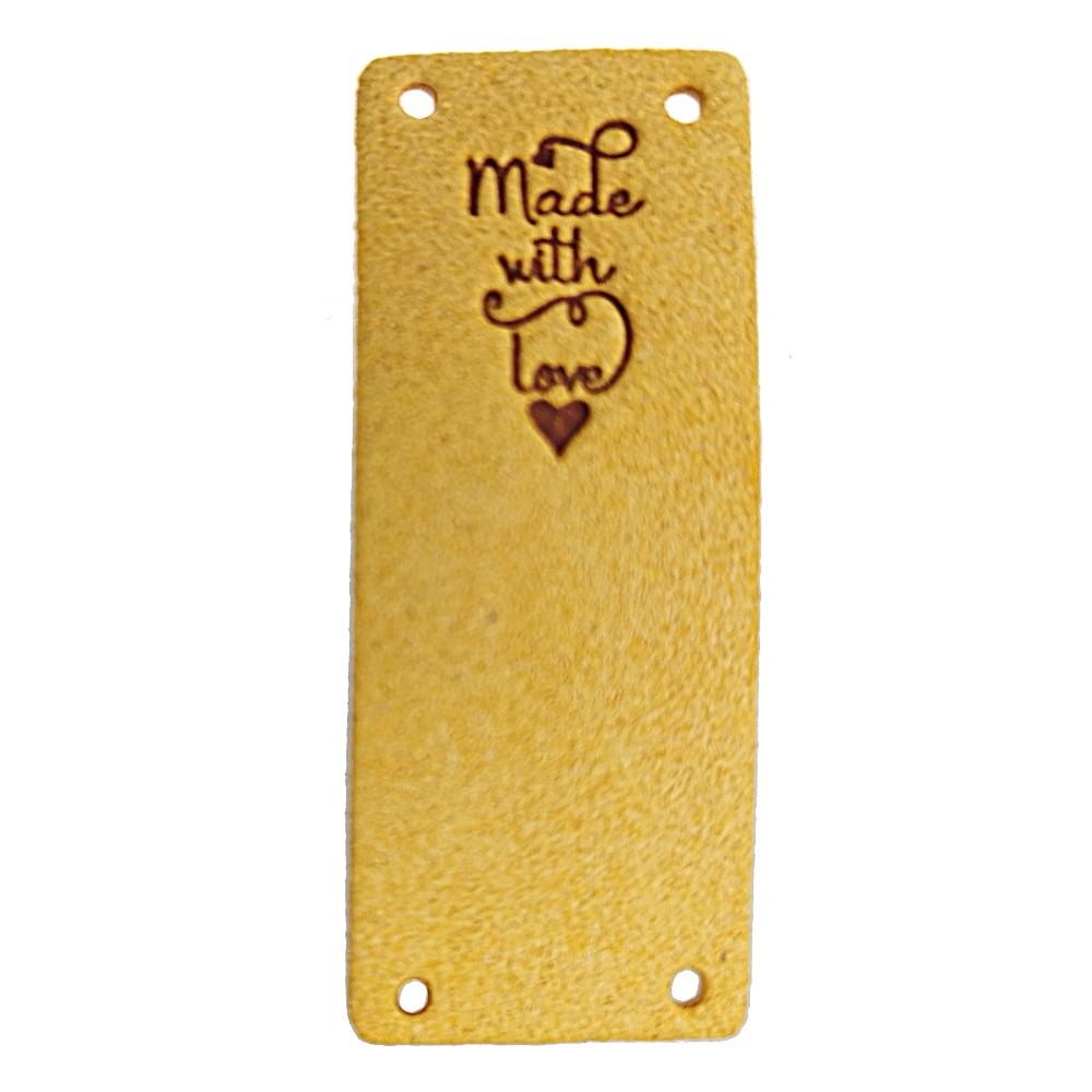 """Klappbar - Aufschrift """"Made With Love"""" auf honiggelb"""