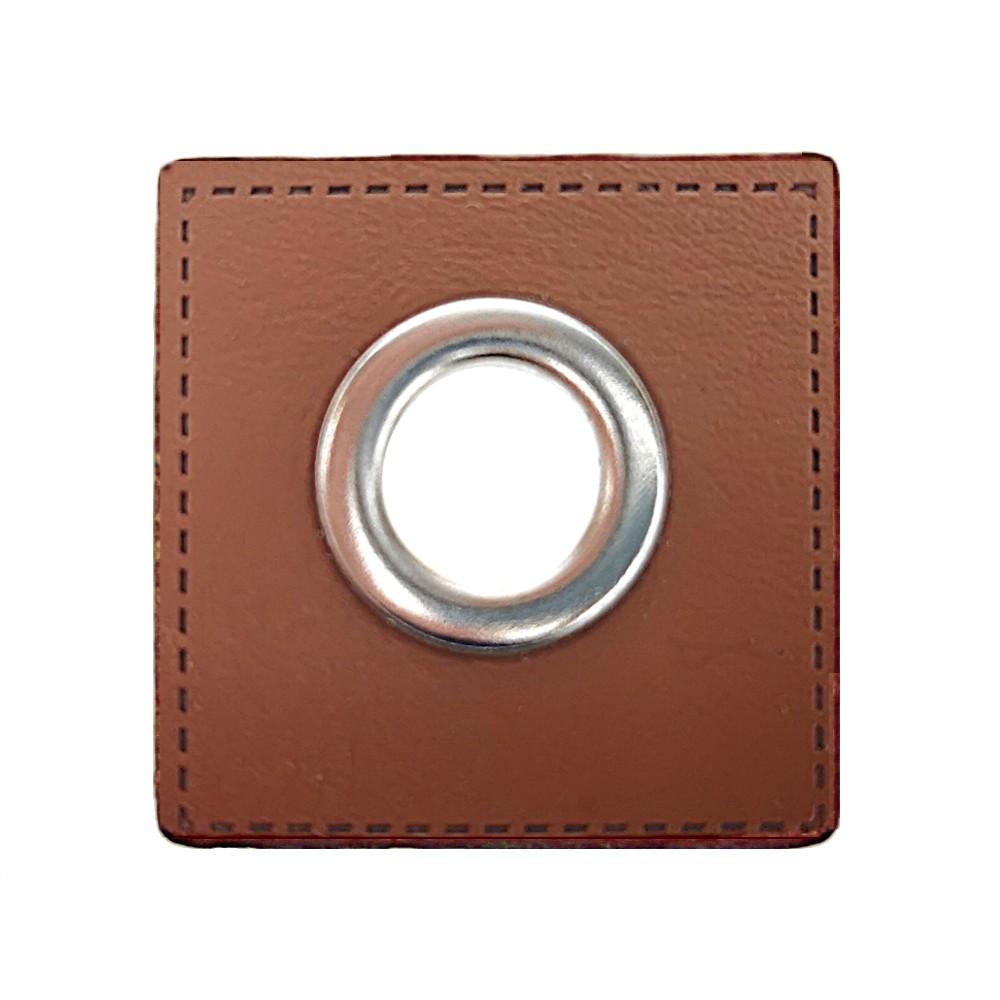 10 St. - Quadrat braun 27 x 27 mm, Öse nickel 8mm