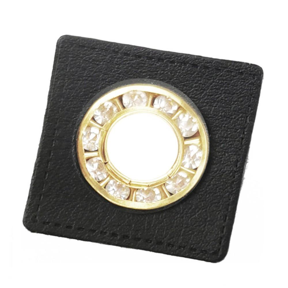 10 St. - Quadrat schwarz 27 x 27 mm, Strass-Öse gold 9mm