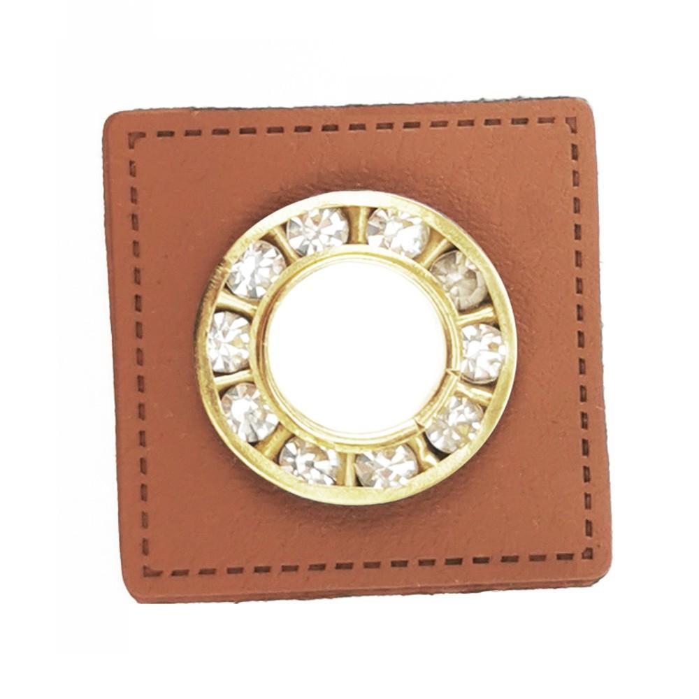 10 St. - Quadrat braun 27 x 27 mm, Strass-Öse gold 9mm