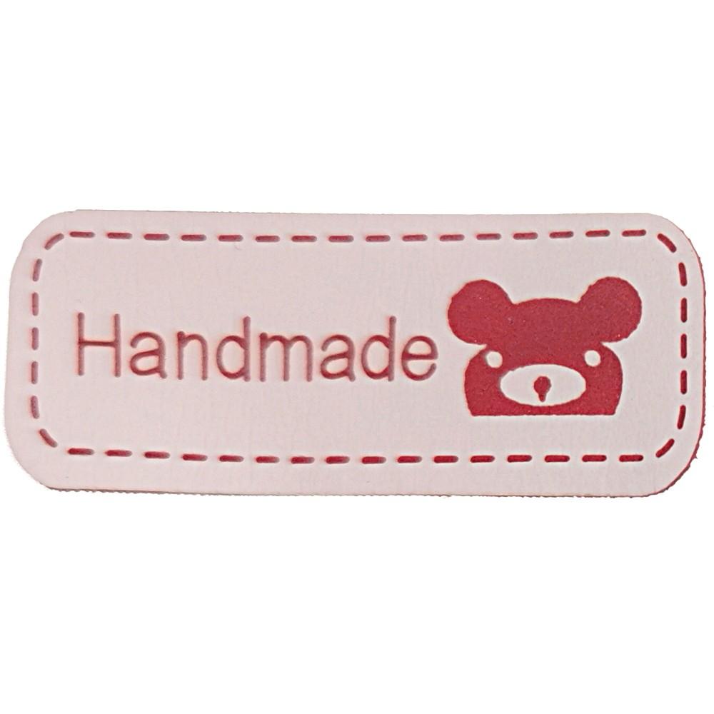 "2002 - Rot auf natur: Aufschrift ""Handmade"", Motiv Koalagesicht"
