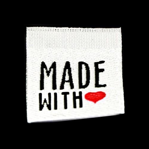 """Aufschrift """"Made With Love"""", schwarz auf weiß"""