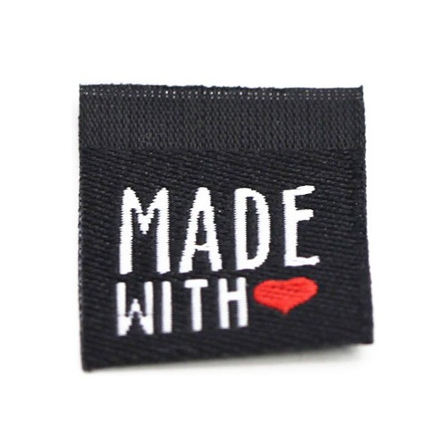 """Aufschrift """"Made With Love"""", weiß auf schwarz"""