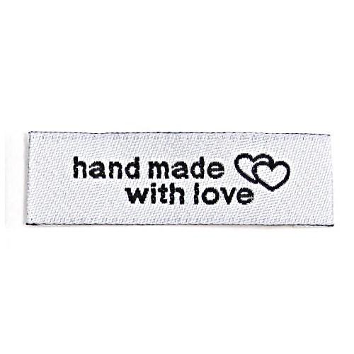 """Aufschrift """"hand made with love"""", schwarz auf weiß"""