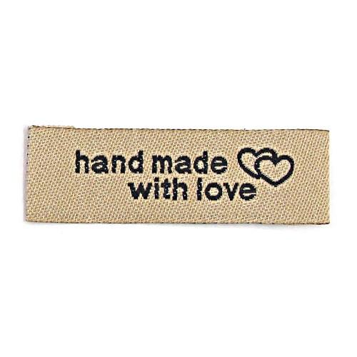 """Aufschrift """"hand made with love"""", schwarz auf hellbraun"""