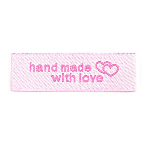 "Aufschrift ""hand made with love"", rosa auf hellrosa"