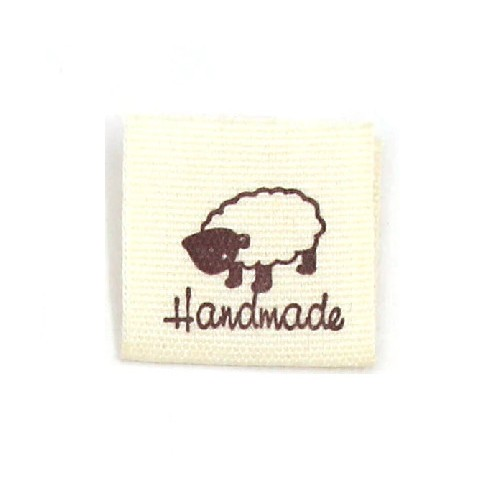"""BW-Label mit Schaf und Aufschrift """"Handmade"""""""