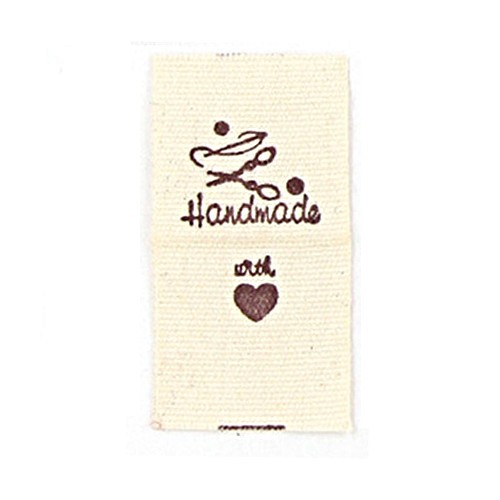 """BW-Label mit Nähutensilien und Aufschrift """"Handmade"""" (Variante 1)"""