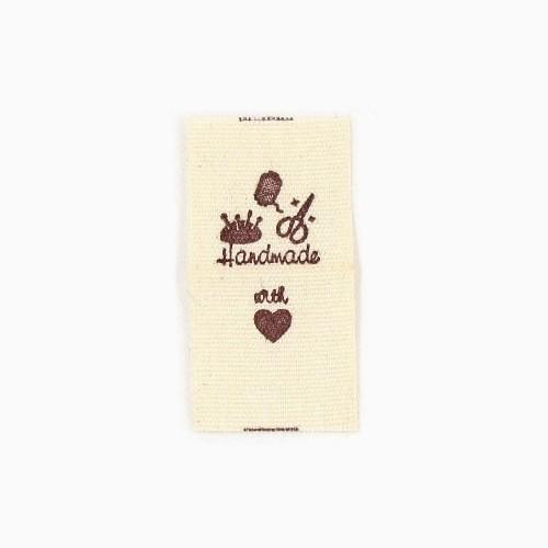 """BW-Label mit Nähutensilien und Aufschrift """"Handmade"""" (Variante 2)"""